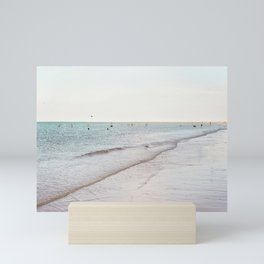 Beach day in Britain Mini Art Print