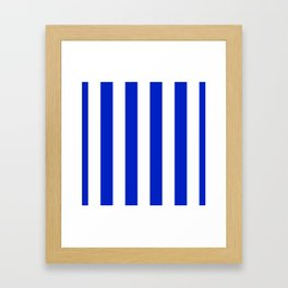 Cobalt Blue and White Wide Circus Tent Stripe Framed Art Print