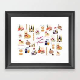 Paris Food Map Framed Art Print