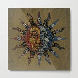 Vintage Celestial Mosaic Sun & Moon Metal Print