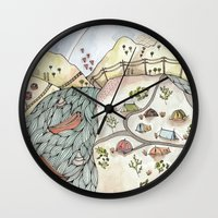 camp Wall Clocks featuring Desert Camp by Brooke Weeber