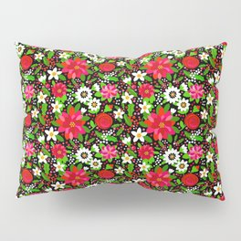 Christmas Flowers and Holly, Poinsettia, Roses and Lilies, holidays, girls floral gift, gift for mom Pillow Sham