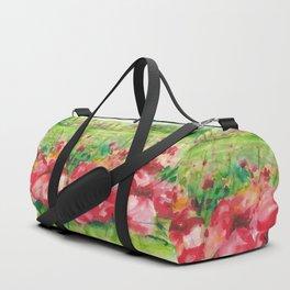 Red Flower Field Watercolors Duffle Bag