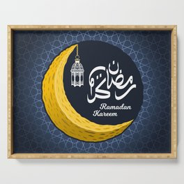 Crescent Moon with Ramadan Kareem in Arabic Calligraphy and Lantern on The Geometry Background Serving Tray