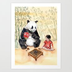 Playing Go with Panda Art Print
