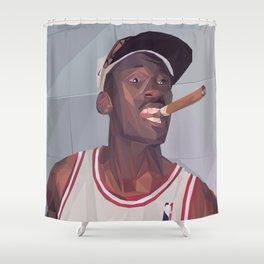 Micheal Jordan LowPoly Portrait Shower Curtain