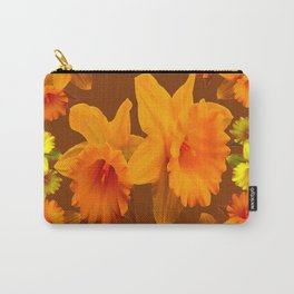 YELLOW SPRING DAFFODILS & COFFEE BROWN COLOR ART Carry-All Pouch