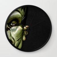 frankenstein Wall Clocks featuring Frankenstein by Sergio Bastidas