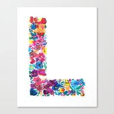 L Letter Floral Canvas Print
