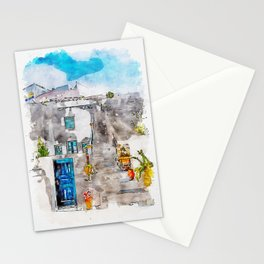 Aquarelle sketch art. Unique Santorini architecture, beautiful buildings Stationery Cards