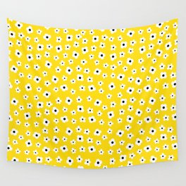 White Yellow Spring Flower Pattern Wall Tapestry