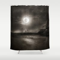 the moon Shower Curtains featuring Moon by Viviana Gonzalez