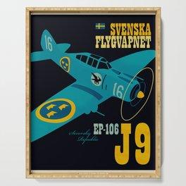 Swedish EP-106 airplane poster ShreddyStudio Dennis Weber Serving Tray