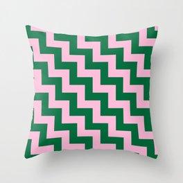 Cotton Candy Pink and Cadmium Green Steps LTR Throw Pillow