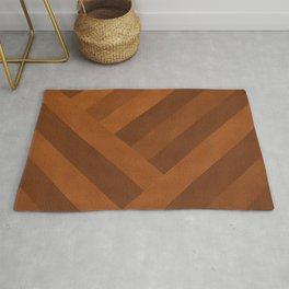 Boho, Faux Suede, Geometric Art, Terracotta Rug