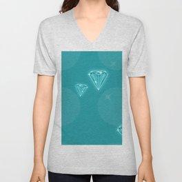 Teal Diamond Pattern Unisex V-Neck