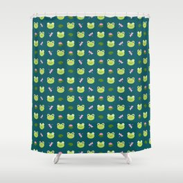 Frogs, Dragonflies and Lilypads on Teal Shower Curtain