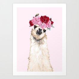 Llama with Pink Roses Flower Crown Art Print