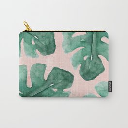 Monstera Leaves Over Pink Watercolor Carry-All Pouch