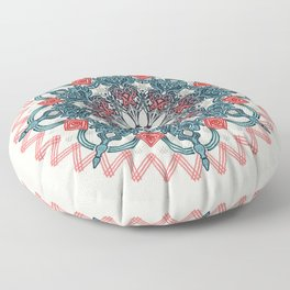 Coral & Teal Tangle Medallion Floor Pillow