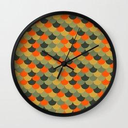 Orange & Green Fish Scale Pattern Wall Clock
