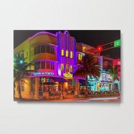 Marlin Hotel, South Beach Miami Florida Landscape Painting by Jeanpaul Ferro Metal Print
