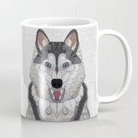 husky Mugs featuring Happy Husky by ArtLovePassion