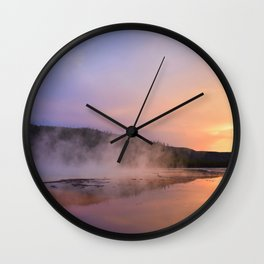 sunset at grand prismatic Wall Clock