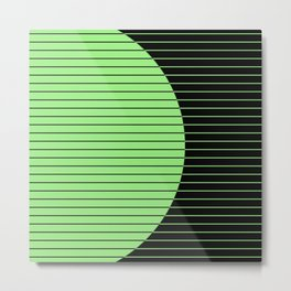 Opposites Attract (Abstract, green and black, geometric design) Metal Print