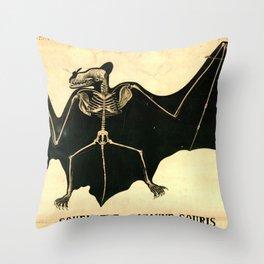 Squelette de chauve-souris Throw Pillow
