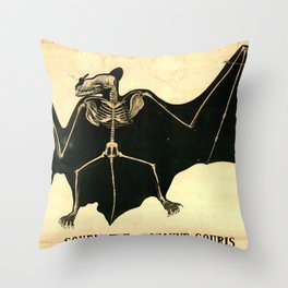 Squelette de chauve-souris Throw Pillow