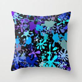Blue Paint Splatters Throw Pillow