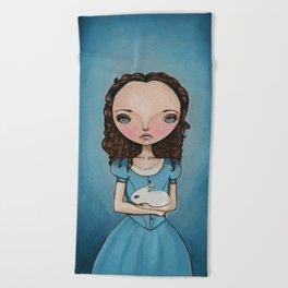 Alice Holding a bunny Beach Towel