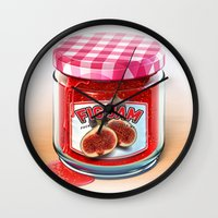 fig Wall Clocks featuring FIG JAM by Vin Zzep