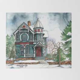 Blue House on a Grey Day Throw Blanket