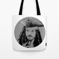 jack sparrow Tote Bags featuring Captain Jack Sparrow by Hazel