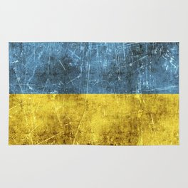 Vintage Aged and Scratched Ukrainian Flag Rug