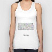 kansas Tank Tops featuring Kansas map by David Zydd