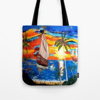 pirates Tote Bags featuring PIRATES by Aat Kuijpers