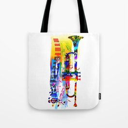 Abstract colorful music instrument painting.Trumpet, piano, musical notes, color splash, treble clef Tote Bag
