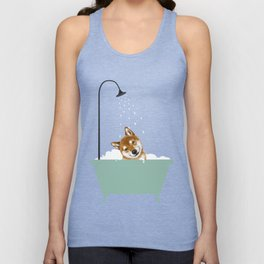 Shiba Inu Enjoying Bubble Bath Unisex Tank Top