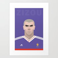 zidane Art Prints featuring Zizou Zidane by Al Power