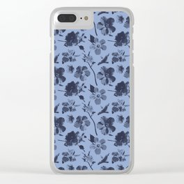 Aloha Flowers on Serenity Blue Clear iPhone Case