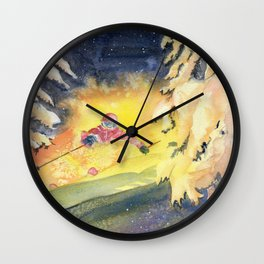 Skiing Art Wall Clock