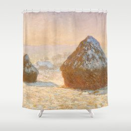 Wheatstacks, Snow Effect, Morning by Claude Monet Shower Curtain