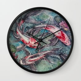 Harmony (Nishikigoi - Japanese Carps) Watercolor Painting Wall Clock