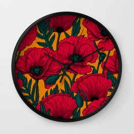Red poppy garden Wall Clock