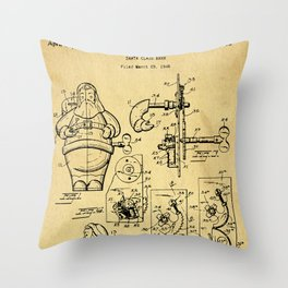 Santa Claus Bank Support Patent Drawing From 1953 Throw Pillow