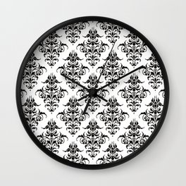 Damask Pattern | Black and White Wall Clock