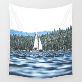 Calm Lake Sailboat Wall Tapestry